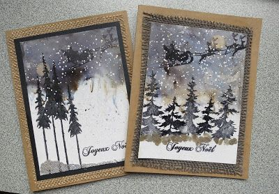 Nathalie Fournier: Stampers Anonymous Tim Holtz Tree Line, Tall Trees, and Christmas Nostalgia stamp sets; Bister