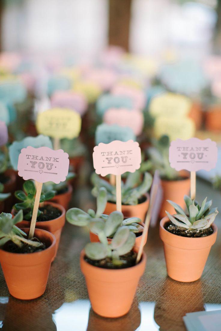 Dankes-Blumen für die Hochzeitsgäste. Kleine Blume in kleinem Tontop mit netter Dankeskarte