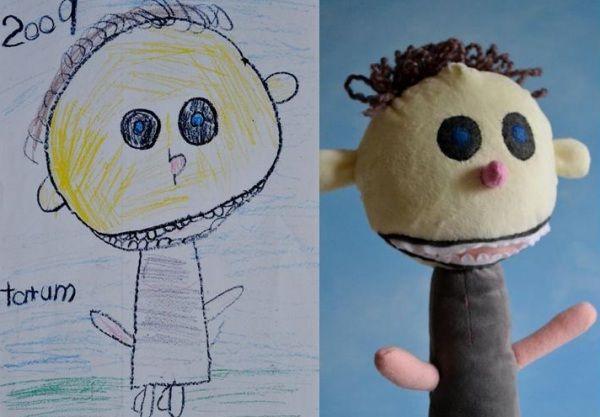 Le 'opere d'arte' dei bambini, così libere e senza schemi, possono essere trasformate in pupazzi bellissimi e inimitabili.