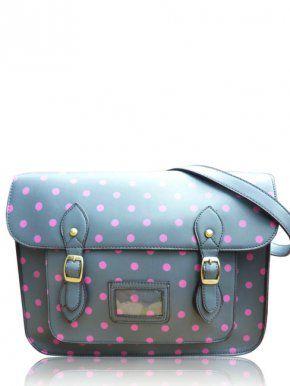 Polka Dot Satchel Bag in Grey & Plum