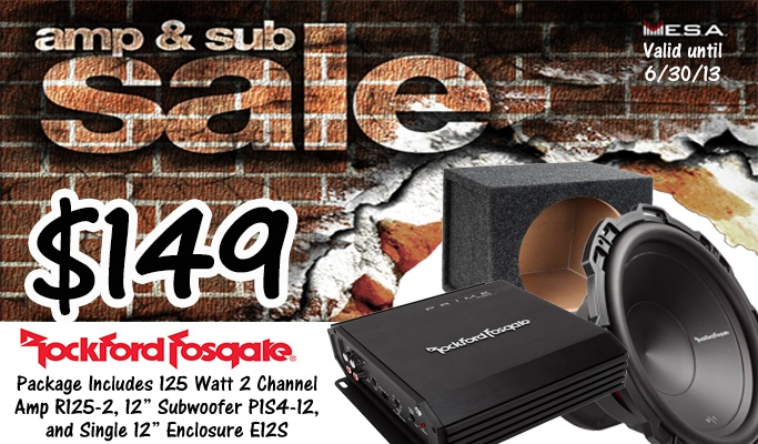 Rockford Fosgate Amp & Sub package starting at $149