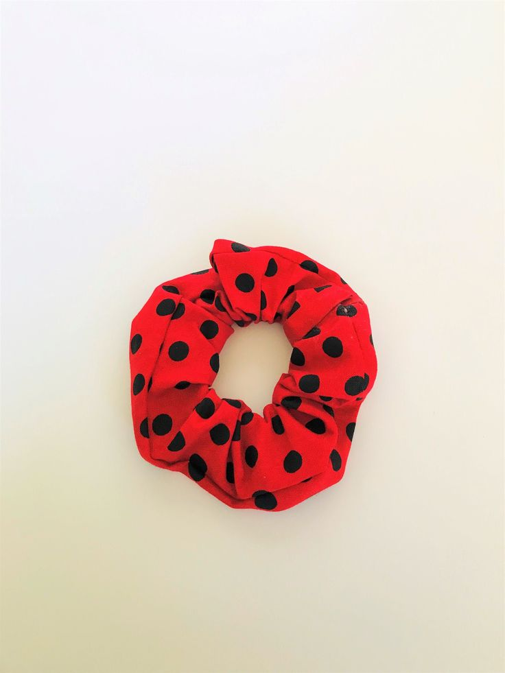 Polka Dot Scrunchie Red And Black Hair Ties Messy Bun