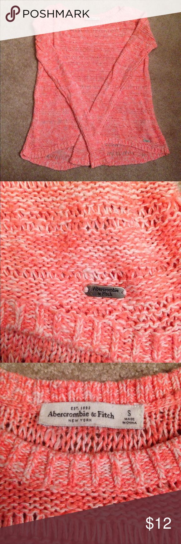 Abercrombie and Fitch sweater Coral and white Abercrombie and Fitch sweater. Perfect for a night out with leggings, or dressed up for the office. Perfect condition from a non smoking and pet free home Abercrombie & Fitch Sweaters Crew & Scoop Necks