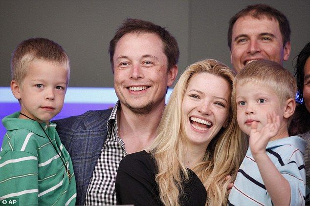 Elon Musk has started a secretive school for his five sons, and 15 other pupils who are the children of select Space X employees. He is pictured here with his boys Griffin, left, and Xavier, right, and wife Talulah Riley