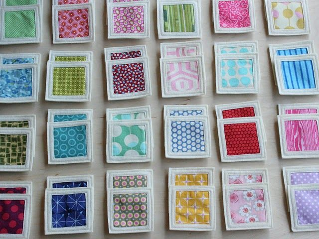 "Fabric memory game idea   I like this idea ""I'm making a quilt, can you help me sort my fabrics?"""