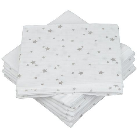 Buy John Lewis Baby Muslin Squares, Grey Star Online at johnlewis.com