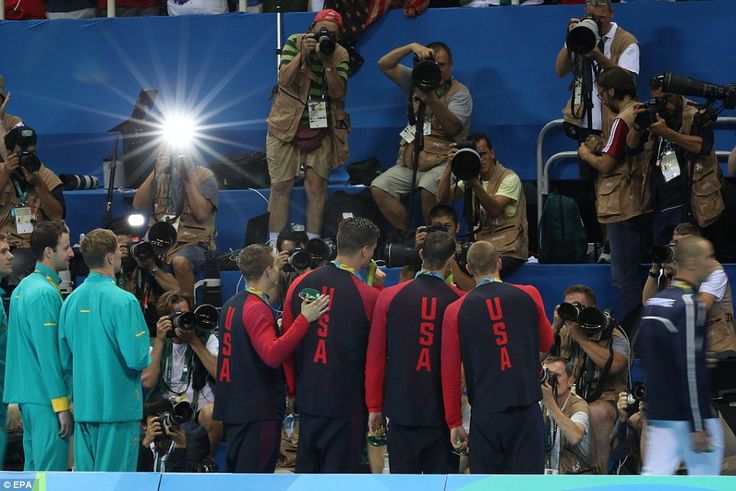 (Left to right) Ryan Held, Nathan Adrian, Michael Phelps, and Caeleb Dressel of USA during...