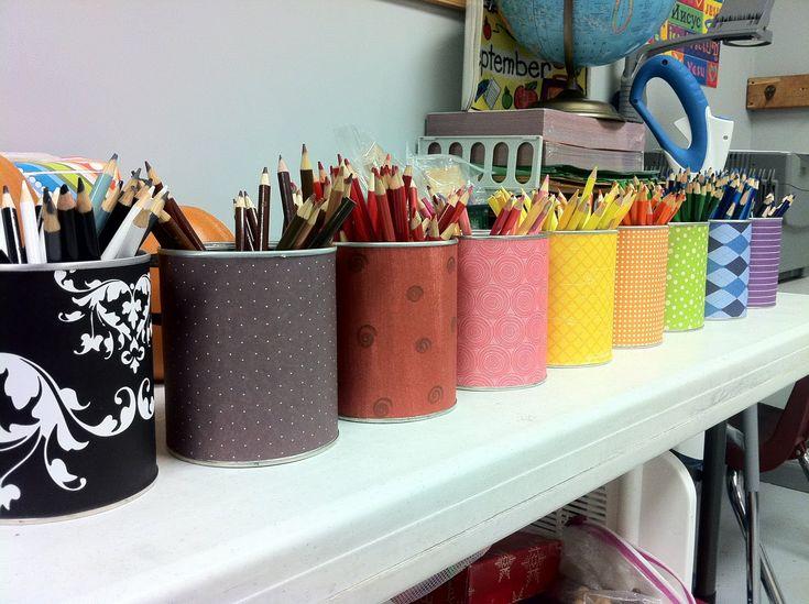 opbergen al die potloden en knutsel dingen - gewoon met oude melkpoeder blikken