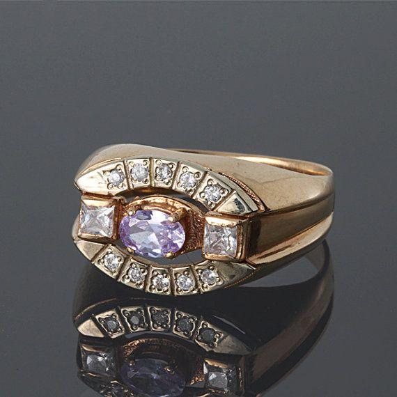 Hombres del anillo de signet, anillo de sello de oro, 14 k anillo de signet, única del anillo de signet, células en anillo de piedras preciosas, oro masculino anillo, anillo de los hombres de piedra