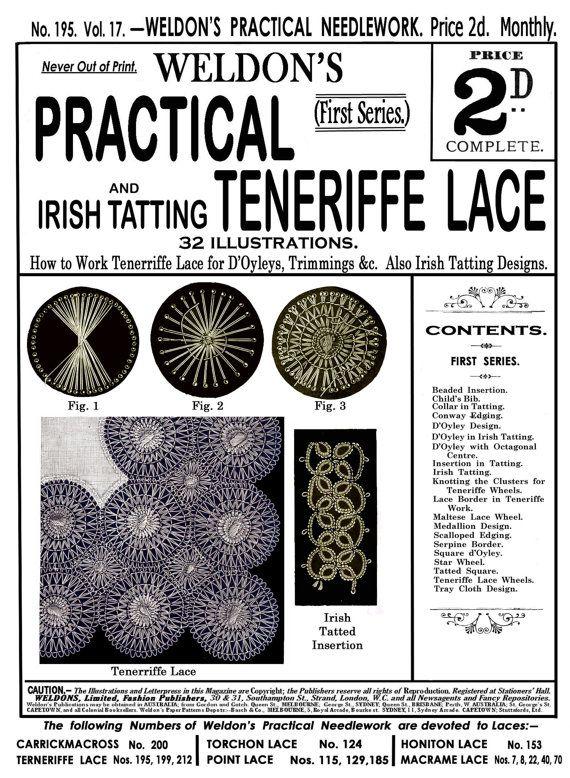 Weldon's 2D (195) c.1901 Practical Teneriffe Lace & Irish Tatting