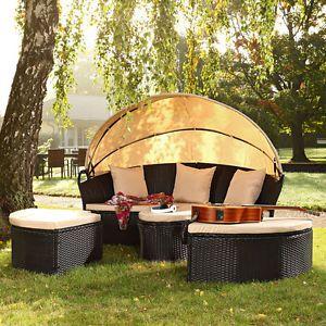 Poly-Rattan-Sonneninsel-LOUNGE-Sitzgarnitur-Sonnenliege-Gartenlounge-Schwarz