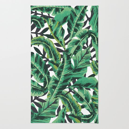 Area Throw Rugs With Design Featuring Tropical Glam Banana Leaf Print By Nikki And