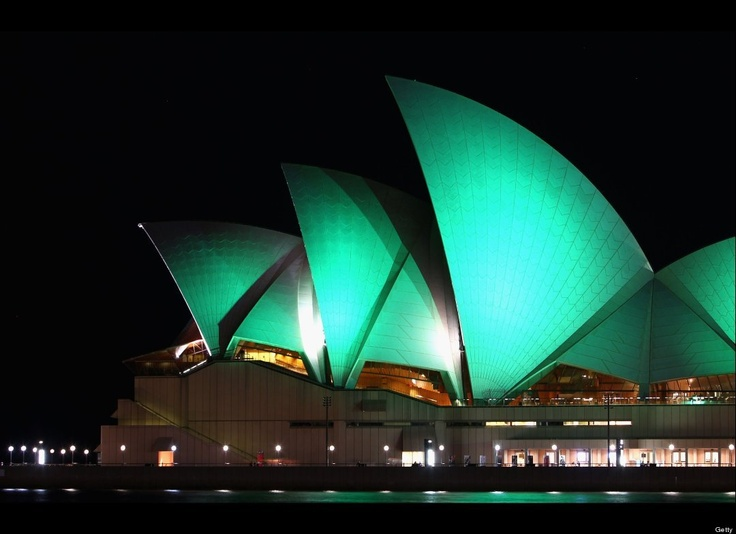 The Sydney Opera House is swathed in green light to mark St. Patrick's Day on March 17, 2010 in Sydney, Australia.     (Photo by Ryan Pierse/Getty Images)