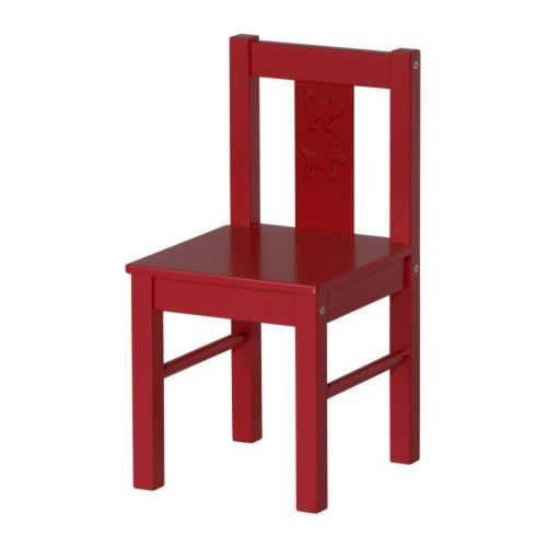 From IKEA:  KRITTER  Children's chair, white  $12.99  Article Number: 401.536.99    We have two of these chairs and love them - they are so sturdy!  Need to buy two more considering how often we have child-size guests over.