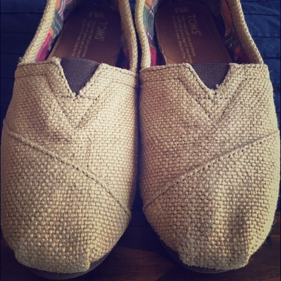 Burlap Toms Adorable pair of burlap Toms. Not worn much, I am selling because they are too small TOMS Shoes Flats & Loafers