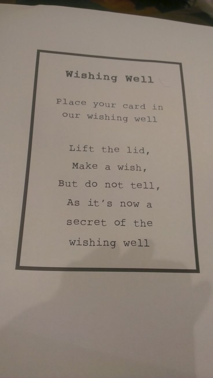 wishing well wedding poems - Google Search