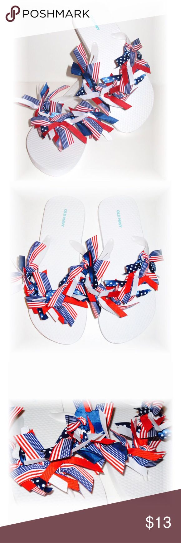 Girls Red White Blue Ribbon Flip Flops size 5/6 UP FOR SALE TODAY ARE THESE ADORABLE BOUTIQUE FLIP FLOPS!!   ♥Red white blue patriotic 4th of July  ♥GIRLS SIZE 5/6- made with Old Navy flip flops   ♥YOU WILL RECEIVE ONE PAIR OF FLIP FLOPS WITH A BEAUTIFUL MIX OF HAND CUT AND TIED RIBBONS! ALL ENDS ARE HEAT SEALED TO PREVENT FRAYING.                                                        ♥This is a new hand embellished item made by me from my online and craft faire boutique! THANKS SO MUCH FOR…