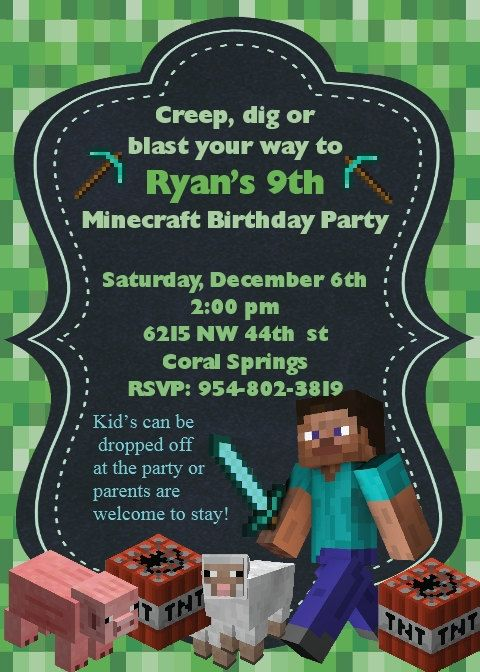 Minecraft Invitation by LittleDragonflyParty on Etsy