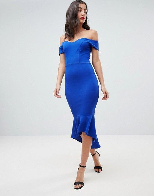 John Zack Tall Off Shoulder Ruffle Midi Dress  840be705a