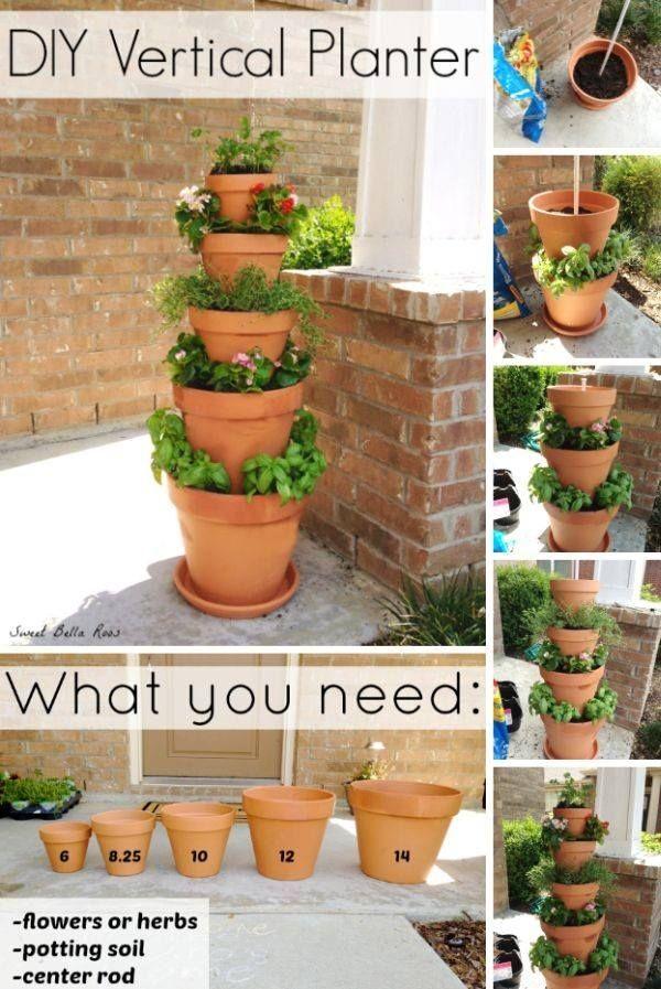 jardin vertical en pots d'argile