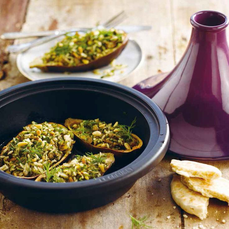 Le Creuset Tagine (Aubergines stuffed with Rice, Herbs and Pine Nuts)