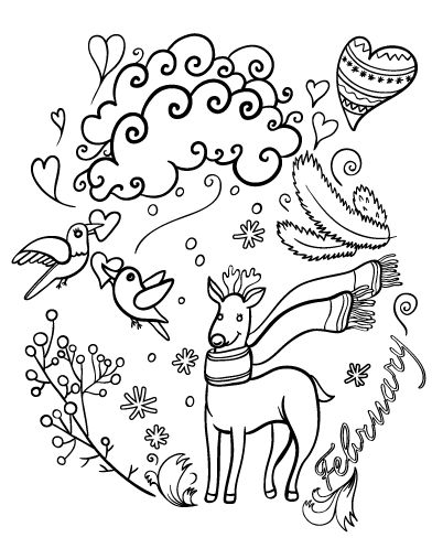 Printable February Coloring Page Free PDF Download At