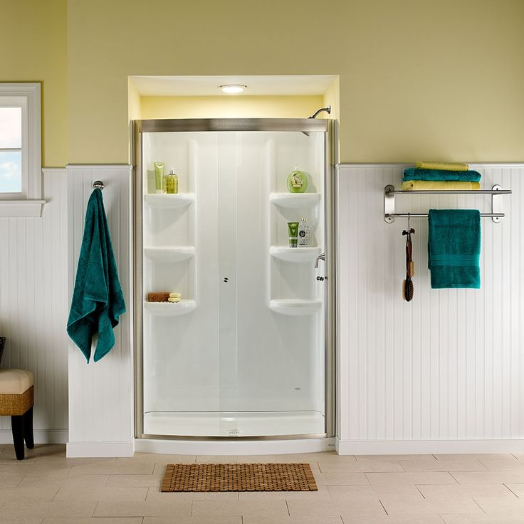 Tub and Shower Walls   Ovation Curved 48 Inch 3 Piece Shower Wall Set    Arctic  Bathroom Tubs  Small Bathrooms  Bathroom Ideas  142 best Our Baths images on Pinterest   American standard  . Small 3 Piece Bathroom Ideas. Home Design Ideas