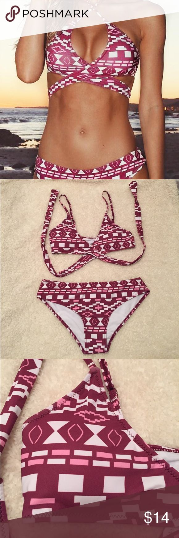 PINK BIKINI SET never worn//crosses in the front and ties in the back//flattering Swim Bikinis