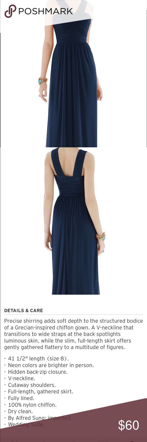 Floor length navy Alfred Sung dress - worn once Navy chiffon dress that I used as a bridesmaid dress... very flattering! alfred sung Dresses Wedding