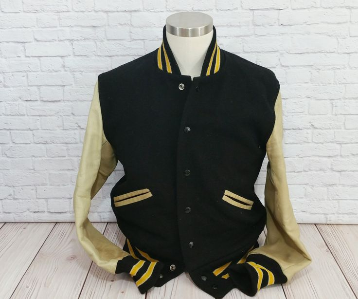 Vintage Black Letterman Jacket with Yellow Stripe Cream Leather Sleeve Whiting by maliasmark on Etsy