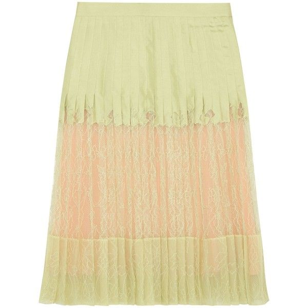 GIVENCHY  Pleated skirt in mint-green silk-twill and lace ($3,670) ❤ liked on Polyvore featuring skirts, mint pleated skirt, mint green skirts, beige skirt, lace skirt and mint lace skirt