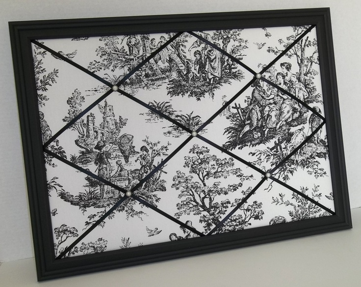 "French Country Toile fabric - Black Wood Framed French Memo Board (23""x17""). $40.00, via Etsy."
