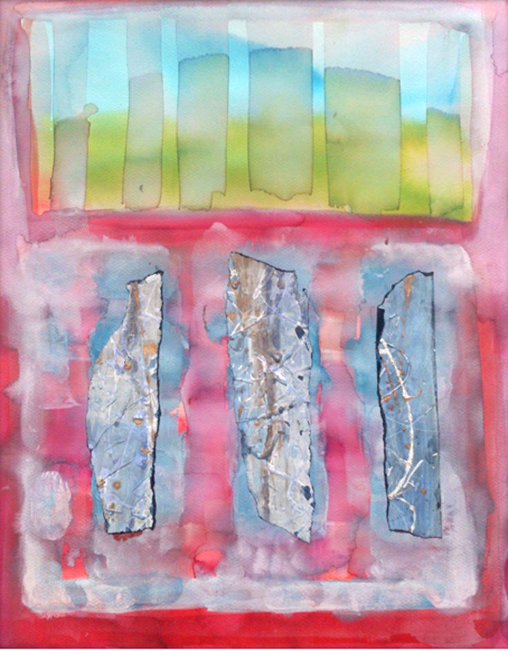 """""""Stones"""" by Justyna Eberle - ecolina, collage, watercolour, paint"""