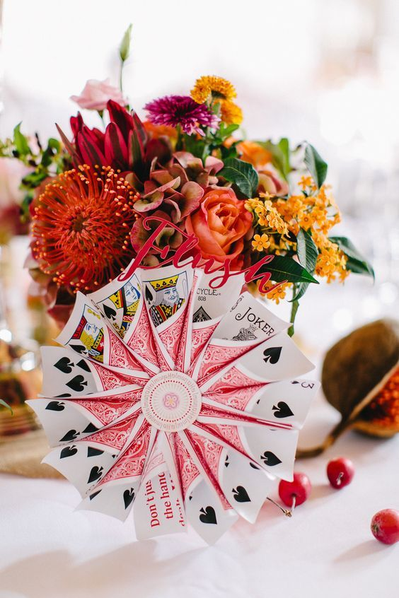 Rolled up playing card flowers                                                                                                                                                                                 More