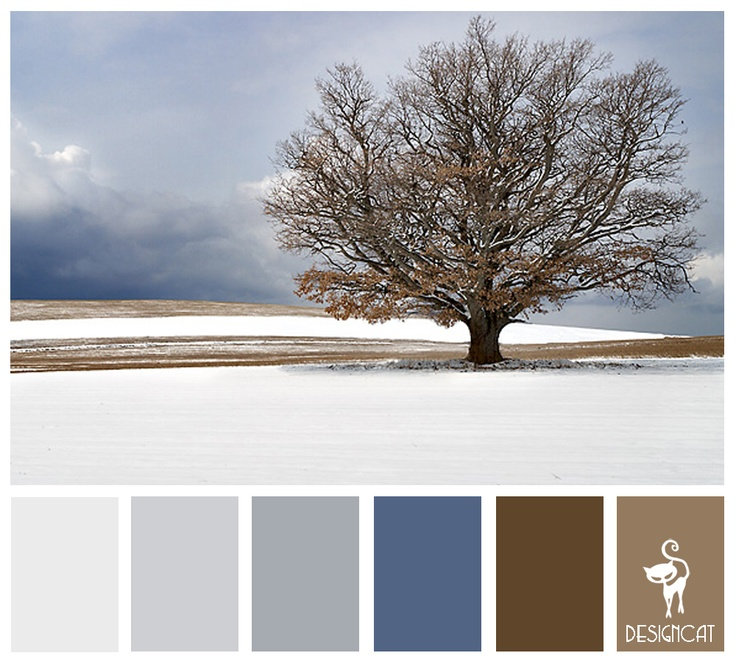 Preferred color pallet  Winter Tree: Ice, Blue, Sky, Slate, Grey, Brown, Sand - Colour Inspiration Pallet