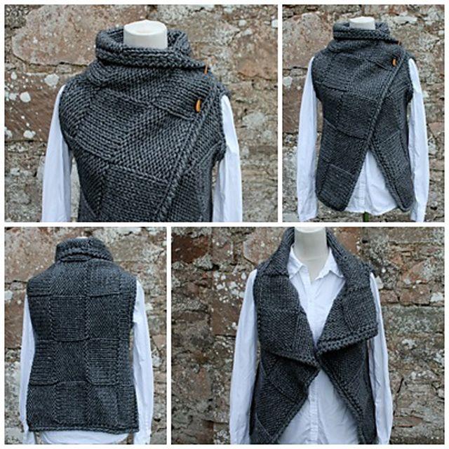 Ravelry: Grey wrap, sleeveless jacket by Laura Dovile