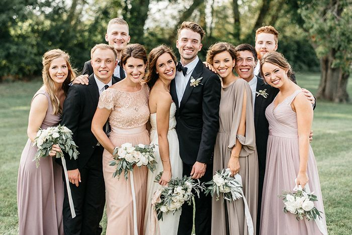 Romantic Farm Wedding in Minnesota with a lovely assortment of mismatched bridesmaids dresses. I particularly like the long sleeved one.