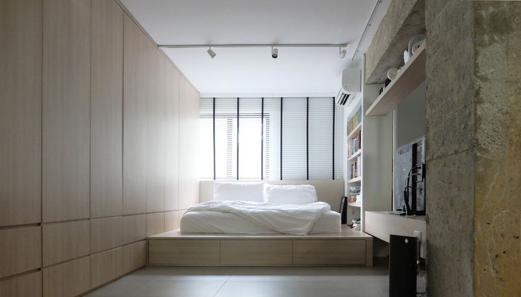 Sumptuous futon couch bed in Bedroom Scandinavian with next to Futon alongside Scandinavian Bed and Built-in Platform Beds