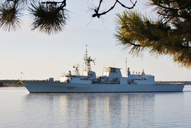 Canadian Military Vessel.. HMCS Ville de Quebec ..Halifax class frigate ..a surprising site as I was sitting having my morning tea on the deck!!!