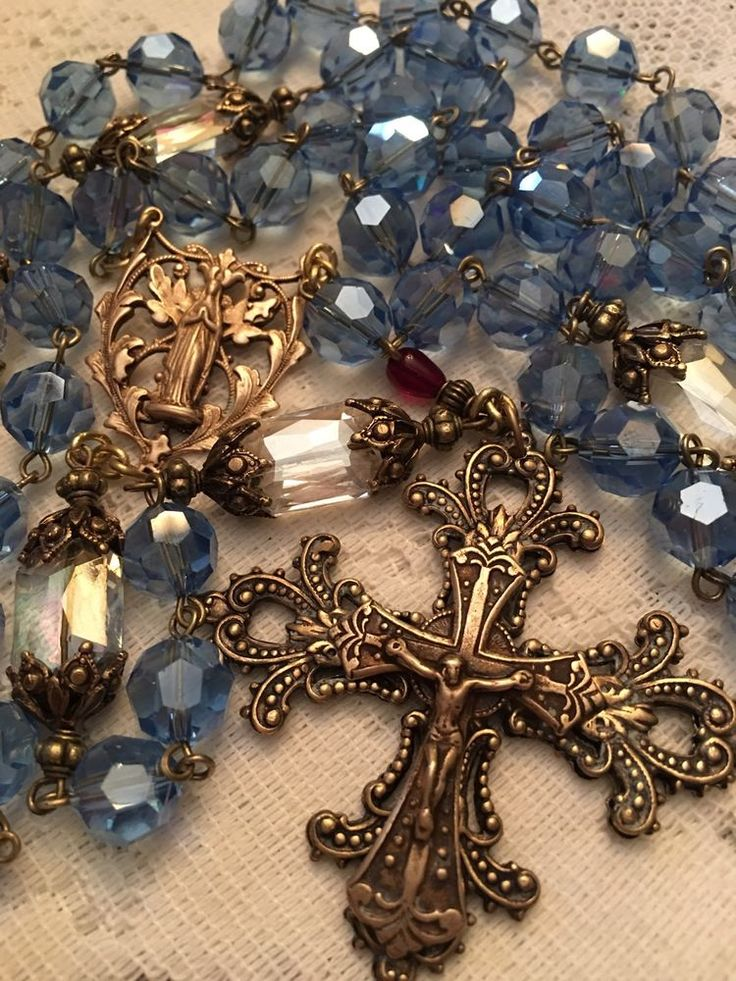 FRENCH ROSARY ~ OUR LADY OF LOURDES ~ 10MM BLUE CRYSTAL ~ BRONZE ~ HANDMADE