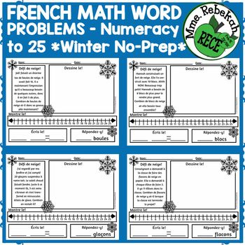 This is a set of 10 interactive math word problems in FRENCH. The narratives are winter themed, engaging and imaginative. There is opportunity on each page to illustrate in many forms (drawing, number line, writing the equation etc). This is a black and white set on lettersized paper with landscape orientation. Represents addition and subtraction numeracy to 25. Lastly, a blank template is included for your own custom word problem creations or you may ask students to create their own.