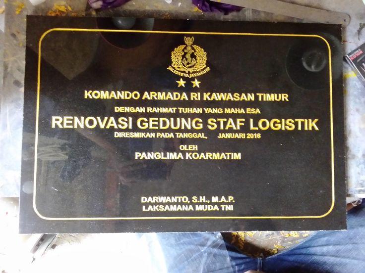 Prasasti peresmian Renovasi gedung staf logistik berbahan granit hitam  Kontak kami : 081357603030