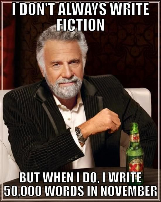 """I don't always write fiction...but when I do, I write 50,000 words in November."" November is National Novel Writing Month! http://www.nanowrimo.org/:"
