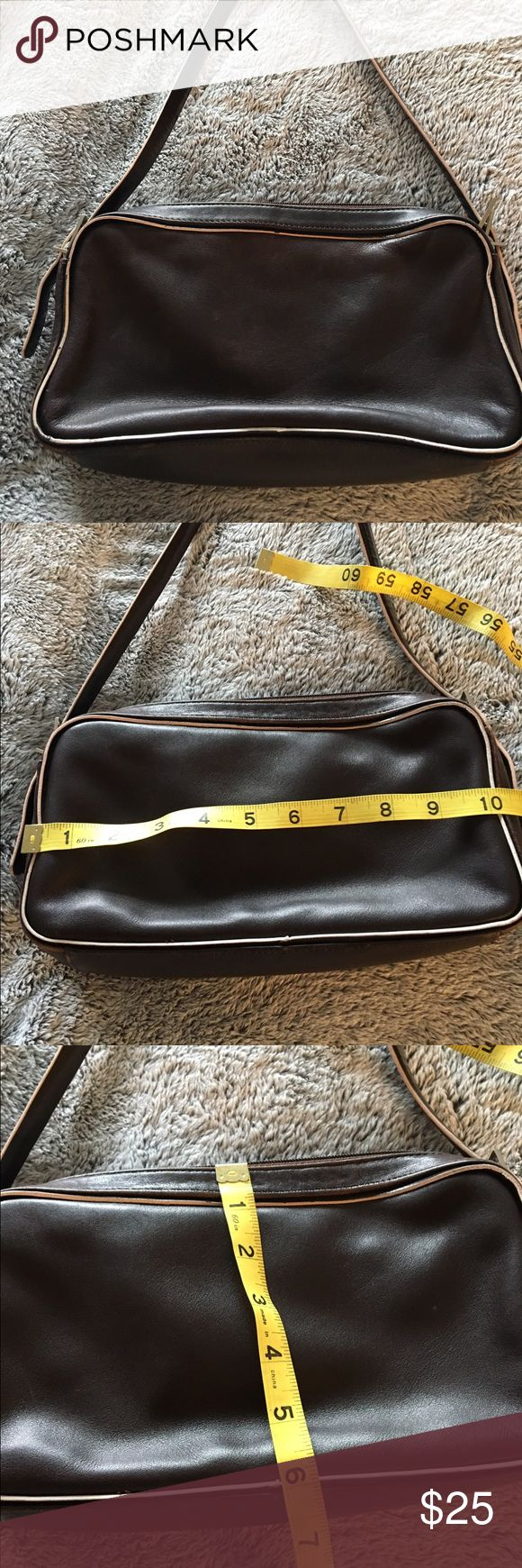 Andrew Marc brown leather purse Super soft leather, amazing Andrew Marc purse with white piping. Great condition. Andrew Marc Bags Mini Bags