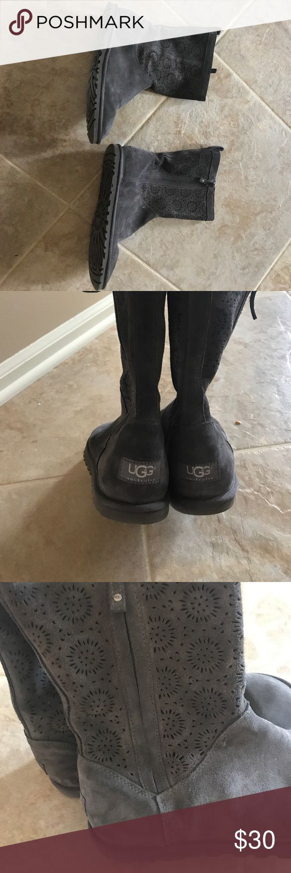Gray suede size 9 uggs! Grey suede size 9 uggs with zipper up the side! Light weight, fur lined on sole. Good condition!! UGG Shoes Winter & Rain Boots
