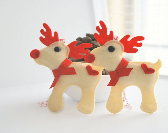 Christmas Rudolph Reindeer Ornament set 2 Felt by Mariapalito