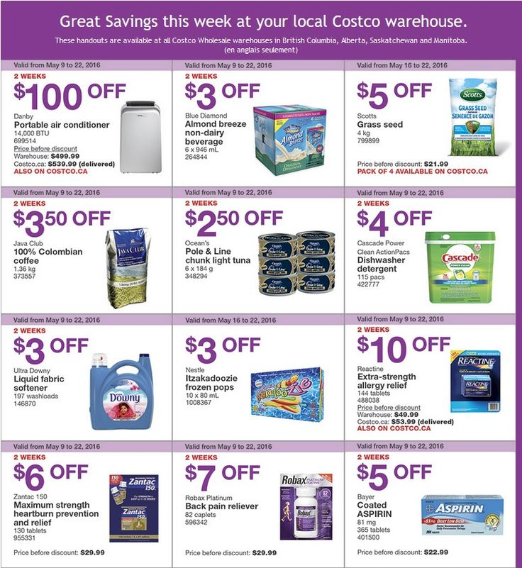 West Costco Sales Items for May 1622 for BC, Alberta
