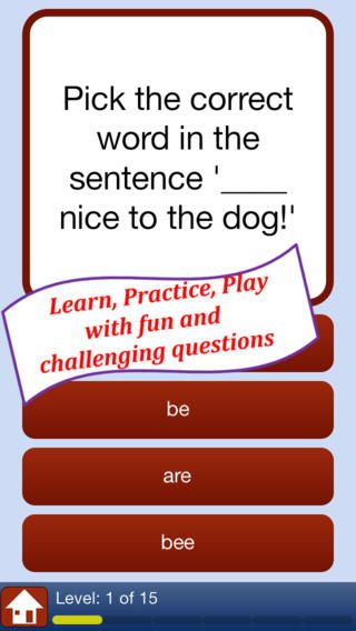 "Spelling Practice: Commonly Confused and Misspelled Words Quiz - learn, improve and test your grammar and spelling skills ($0.99) lets you practice the correct spelling of over 100 frequently misspelled or confused words such as ""you're"" versus ""your"" or ""aunt"" vs ""ant"" in a fun and interactive quiz format."