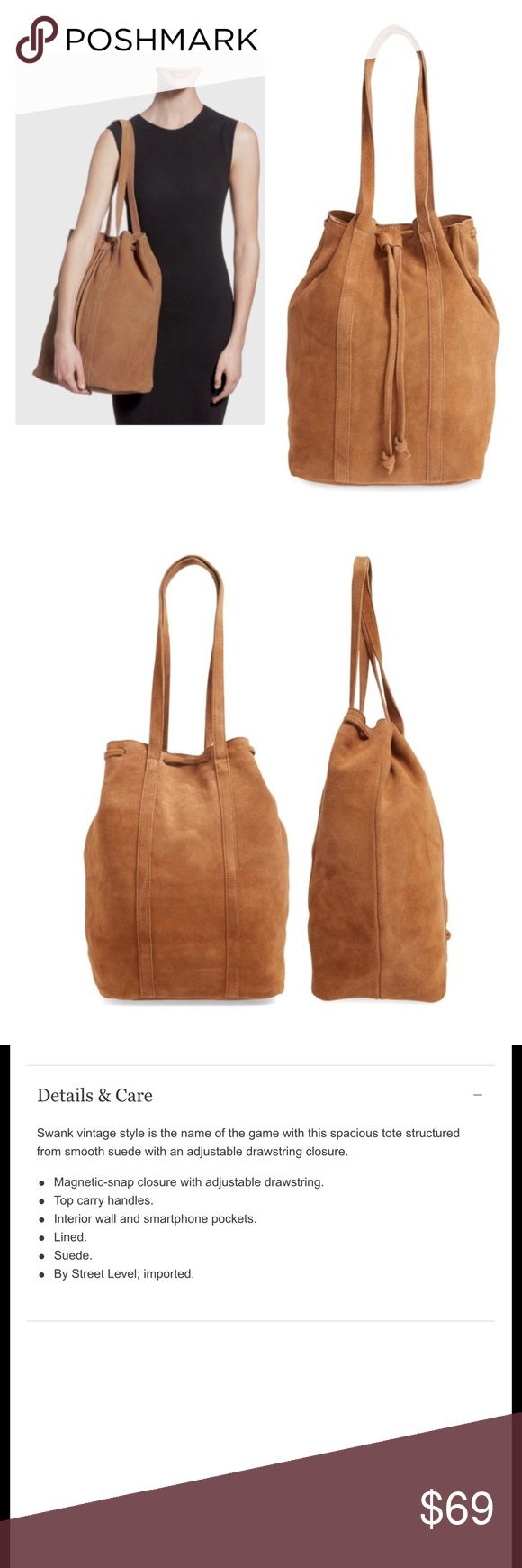 Brown suede bucket bag NWT New with tag, 15 inches height,  13 inches wide,  7 inches wide Bags Totes