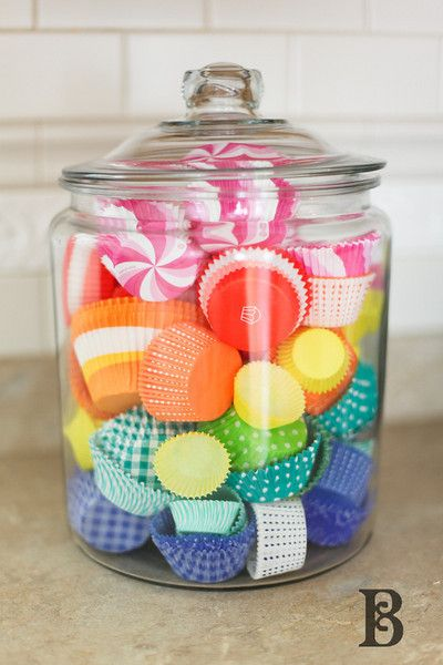 Cupcake liners in a jar as a little pop of rainbow color for the kitchen. Yum.